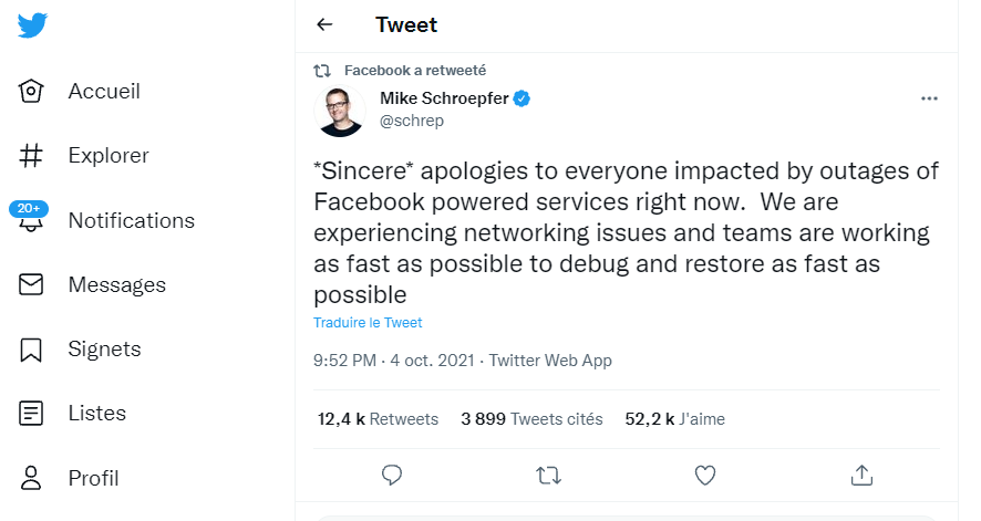 facebook s'excuse en utilisant twitter